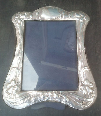 Large Hallmarked Silver Picture Frame - Daffodils - Attention Needed - 30 x 25cm
