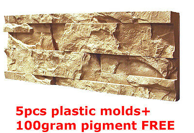 Plastic Molds for Concrete Plaster Wall Stone Tiles 5pcs CONCRETE MOULD Brick