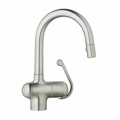 GROHE 32256SD0 Ladylux Pro 1 Handle Pull-Down Prep Sink Faucet, Real Steel