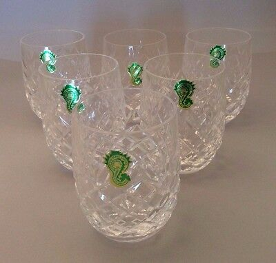 WATERFORD CRYSTAL RARE VINTAGE SET OF 6 POWERSCOURT 5oz TUMBLERS NEW, OLD STOCK
