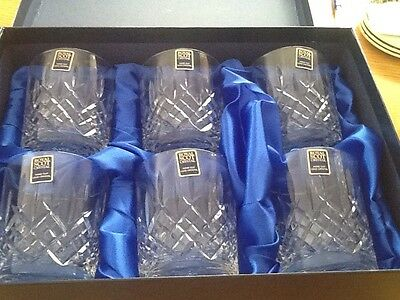 6 Royal Scot Lead Crystal Whiskey Glasses Tumblers New Boxed