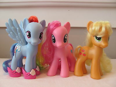 "My Little Pony lot ~ 6"" Friendship is Magic G4 ponies ~ set of 3 ~ HTF"