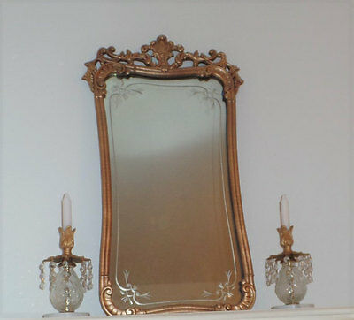 Antique 1920's Wood Etched Mirror- Ornate Gold Victorian Style
