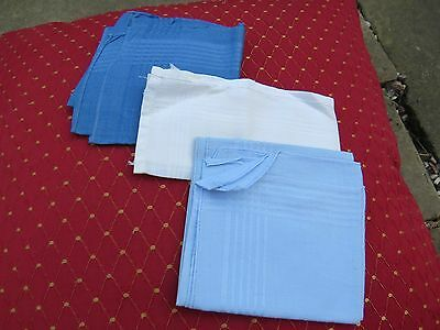 3 x vintage plain handkerchiefs with woven stripe.
