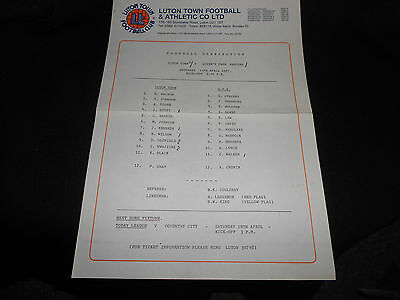 Luton Town Reserves V  Queen's Park Rangers (Qpr) Reserves - 11Th April,1987