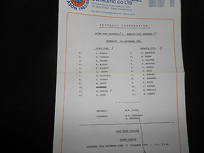 Luton Town V Norwich City Reserves - 6Th November,1985