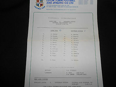 Luton Town V Tottenham Hotspur (Spurs) Reserves - 14Th November,1987