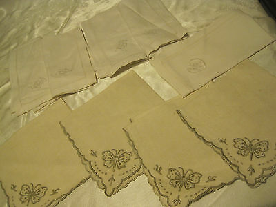 VTG LOT OF 9 Linen Cocktail Napkins w/Embroidered Butterflies/INITIALS/CUTWORK