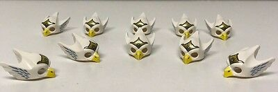 10 Genuine LEGO Minifig Headgear, White Mask, Eagle, Chima, Yellow Beak, Tiara