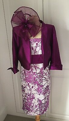 Presen Pink Purple Mother Of Bride Silk Dress Suit Fascinator 16