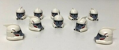 10 Genuine LEGO Minifig Headgear, Star Wars ARC Trooper, Gray Face, Red Markings