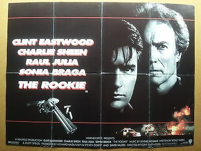 THE ROOKIE British Quad Cinema Poster 30x40. CLINT EASTWOOD. Charlie Sheen 1990