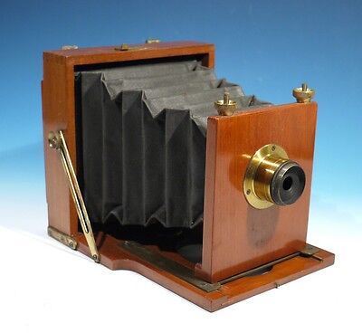Rare Antique Mahogany & Brass Folding Camera.