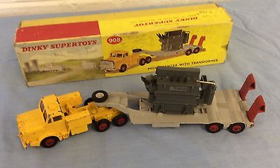Dinky 908 Mighty Antar Low Loader with Transformer C/w original box.Slight wear