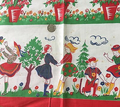 Vintage Mid Century Cotton Juvenile Border Fabric Children Flowers 36W German