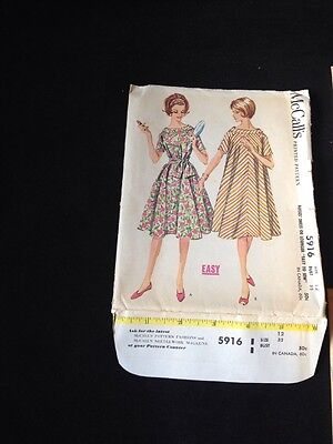 VINTAGE 1961 McCall's #5916 Misses' DRESS OR LOUNGER Pattern Size 12