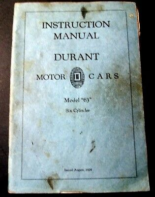 Auto Istruction Manual Durant Motor Cars Model 63 1929
