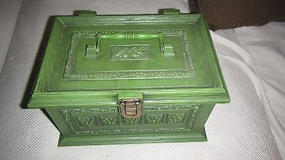 Vintage Green Max Klein Plastic Faux Wood Sewing Box w/Tray & Accessories Kit