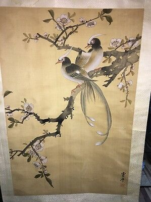 Very Nice Antique Chinese Scrolls, Flowers and Birds Signed Character Marks