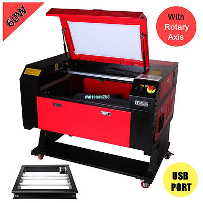 60w  CO2 Laser Engraver Cutter Cutting Engraving Machine USB Port w/ Rotary Axis