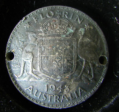 Australia 1943 Silver Florin Coin (WWII Trench Art?) two punched holes, concave