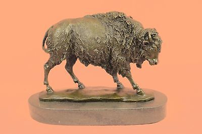 Large Bronze American Buffalo Sculpture Figure on Marble Base Signed Barye Gift