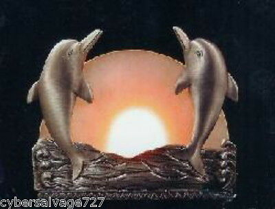 Dolphin Tea-light Candle Holder  Pewter and Frosted Glass Screen Nautical Decor