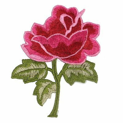 Flower & Leaf Applique Fuchsia Pink Rose Satiny Floral Embroidery 4.5 inch \