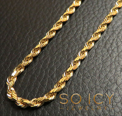 "22-24"" 2mm 14k Yellow Real Gold SOLID Rope Hip Hop Chain Necklace Mens Ladies"