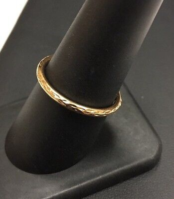 14K Rose Gold Hammered Stackable Band Ring Size 7