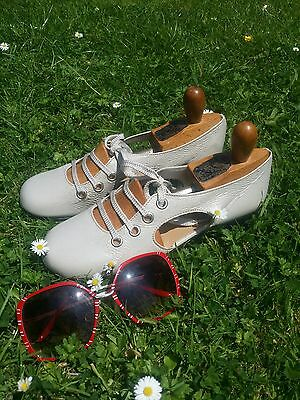 Superb Vintage 1960's Manfield Leather Mod Shoes.Mary Quant Gogo Twiggy.Size 5