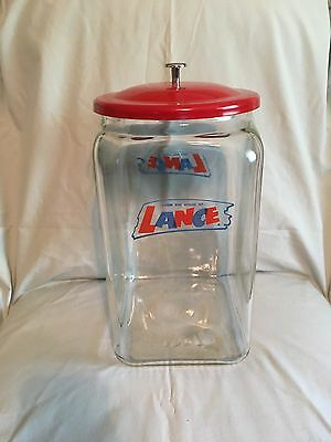 RARE Large Original Lance Cracker  Store Display Glass Jar w/Lid Canister !