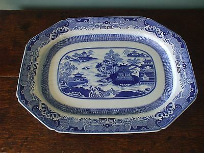 A Large Original Antique Spode Blue & White Meat Plate - Chinese Temple Design