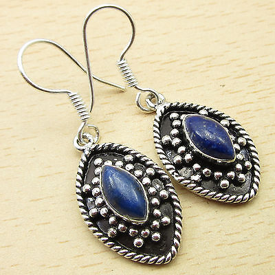 """Earrings 1 5/8 """" Real LAPIS LAZULI DANGLING Sterling Silver Plated Jewelry NEW"""