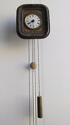 French Antique Postman's Pendulum chiming Grandfather Wall Clock