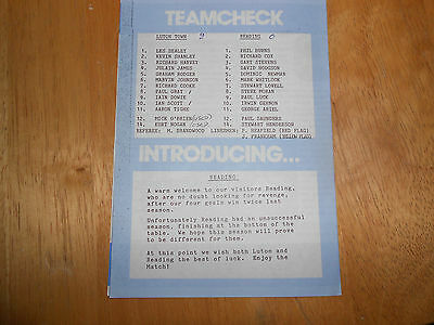 Luton Town Reserves V Reading Reserves - 2Nd September, 1989