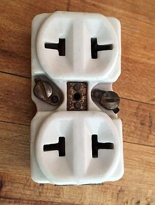 Vintage Porcelain Electrical Receptacle White Plug Double Wall Outlet