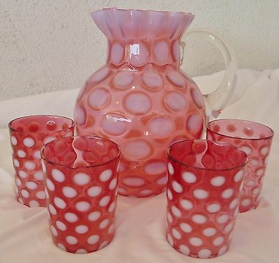 Fenton Coin Spot Drink Set Pitcher Tumbler Cranberry Opalescent Five Piece Vint