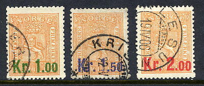 NORWAY 1905 Surcharges set of 3. used.