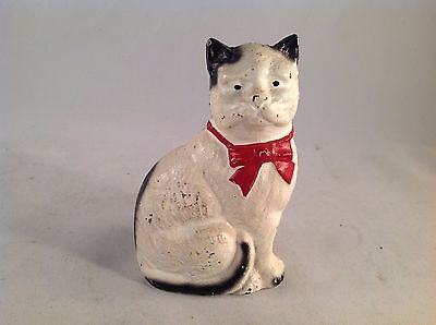 """Vintage White & Black Cast Iron Cat Bank with Red Bow 4-1/4"""" Tall"""
