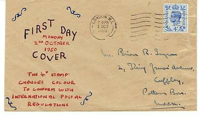 1950 Great Britain KGVI Blue 4d Issue First Day Cover FDC Lovely Homemade Cachet