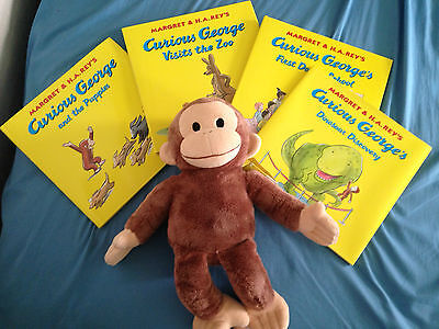 Set of Curious George Plush and 4 Books Kohl's Cares Series in Promotional Box