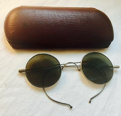 Antique / Vintage Silver Tone LENNON Look GREEN Sunglasses with Case