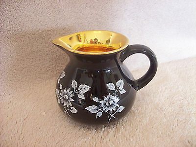 Prinknash Pottery Jug Black with Gilding inside