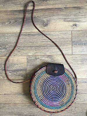 Woven Wicker And Leather Circle Boho Bag