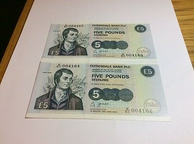 Clydesdale Bank Plc £5 X 2 Consecutive And Uncirculated Savage Signature