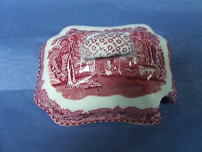 Masons  red Vista sauce tureen LID only