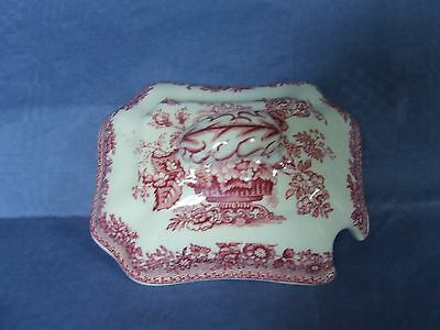 Mason's red Ascot  sauce tureen LID only