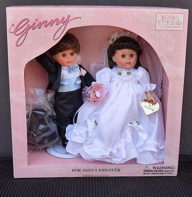 """Qvc Ginny Bride & Groom 8"""" Dolls Vogue Set New In Box """"here Comes The Bride"""""""
