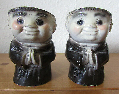 Fab Rare Vintage Novelty Friar Tuck Monk Egg Cup Pair